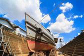 Military boat under repairing — Stock Photo