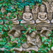 Climbing fig on the buddha statue wall — Stock Photo