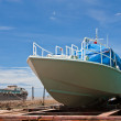 Boat under repair in dockyard — Stock Photo