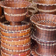 Woven ratan basket in the market — Stock Photo