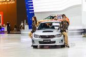 BANGKOK - December 6: Subaru WRX STV on display at The 30th Thailand International Motor Expo at Impact Muang Thong Thani on December 6, 2013 in Bangkok, Thailand — Stock Photo