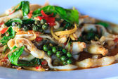 Fried herbal vegetables with Razor clam — Stock Photo