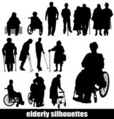Elderly silhouettes — Stock Vector