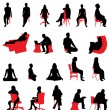 Silhouettes sitting — Stock Vector
