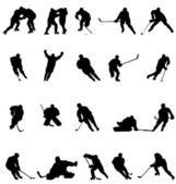Hockey silhouettes set — Stock Vector