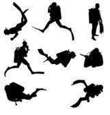 Scuba diving silhouettes — Stock Vector