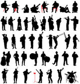 Musican silhouettes set — Stock Vector
