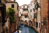 Houses and bridge above channel — Foto de Stock