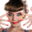 Girl with make-up and manicure — Stock Photo