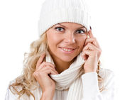 Sexy beautiful girl in winter white hat — Stock Photo