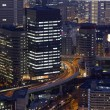 Night photo of modern cityscape, central Osaka, japan — Stockfoto