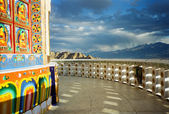 Paintings on the wall of shanti stupa — Stock Photo