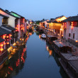 A night view of a canal in old Suzhou, China — Stock Photo