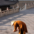 Buddhist Monk At Nanshan Temple, Wutaishan Prainting Caligraphy — Stock Photo