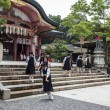 High school girls wearing school uniforms at Fushimi Inari shrin — Stock Photo