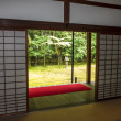 Japanese garden with stone garden seen through the sliding doors — Foto de Stock