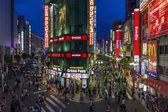 Brightly lit streets in East Shinjuku, Tokyo, Japan. — Stock Photo