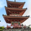 Red pagoda in the famous Kiyo-mizu dera temple in Kyoto, Japan — Stockfoto