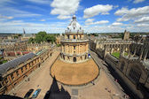Etremely wideangle photo of Radcliffe Camera, the square and surrounding colleges in Oxford, England, with blue sky and white clouds in background — Stock Photo