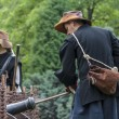 History fans dressed as 17th century mercenary soldiers load his — Foto de stock #37254215