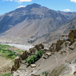 Panorama od Dhankar village and gompa with high himalays and riv — Stock Photo