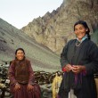 Stock Photo: Ladakhi shepherdesses dressed in traditional garments pose to a
