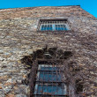Stock Photo: Distorted wall of old stone building with two bar window pane
