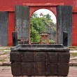 20o7: Fragment of temple courtyard with sacrifice caldron and — Stock Photo #37947701