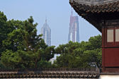 A view of Jin Mao tower and Shanghai World Financial Center (in — Foto Stock