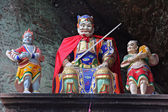 Taoist statues decorating an altar carved in rock at Qiyun Mount — Stock Photo