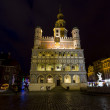 Night photo of beautiful historical city hall in Poznan,Poland — Stock Photo #39406935