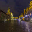 Night photo of beautiful historical city hall in Poznan,Poland — Stock Photo
