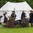 Stok fotoğraf: History fans dressed as 17th century mercenary soldiers
