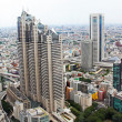 Aerial view of Tokyo with busy roads and office buildings — Stock Photo