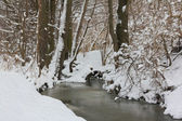 Oil painting stylized photo of River in winter — Stock Photo