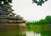 Oil painting stylized photo of Japanese castle at Matsumoto — Stock Photo