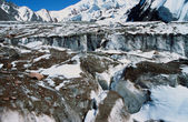 Glacier in Pamir Mountains, oil paint stylization — Stock Photo