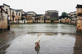 The famous moon pond in ancient Hongcun village, china, oil pain — Stock Photo