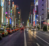 Rows of taxies parked at late night in Ginza, tokyo — Stock Photo