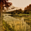 Autumn lake in the wood covered with grass oil painting landscape background — Stock Photo