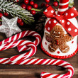 Christmas decoration on wooden table — Stock Photo #36615913