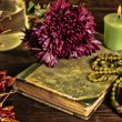 Old book, flower, candle and open jewelry box with green necklace still life, renaissance concept with dark grunge light — Stock Photo