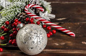 Christmas decoration on wooden table — Stock Photo