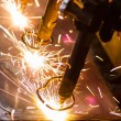 CNC LPG cutting with sparks close up — Stock Photo