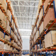 Shelves with boxes in factory warehouse — Stock Photo #32794189