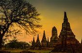 Zonsondergang oude tempel wat chai watthanaram van ayuthaya provincie thailand — Stockfoto