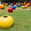Colorful garden with ball chair — Foto Stock