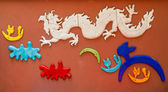 Colorful chinese dragon at the wall — Stock Photo