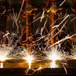 CNC LPG cutting with sparks close up — Stock Photo #33303715