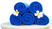 Towel and flower for spa — Stock Photo